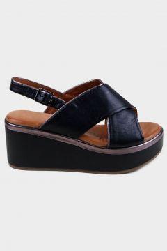 KAMMI Siyah Hakiki Deri Kadın Dolgu Topuk Sandalet(118221787)