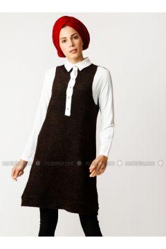 White - Brown - Point Collar - Cotton - Tunic - Meryem Acar(110330067)