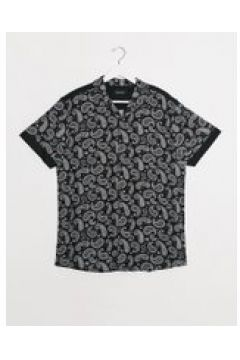 Night Addict - Camicia a maniche corte con stampa cachemire in coordinato-Nero(120279911)