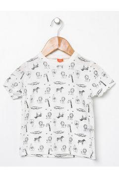 Koton Ekru Desenli T-Shirt(113977955)
