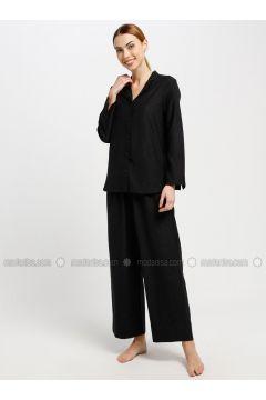 Black - V neck Collar - Pyjama - Akel(110331080)