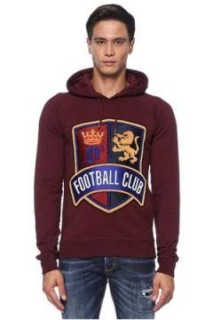 Dsquared2 Erkek Bordo Kapüşonlu İşlemeli Logo Patchli Sweatshirt S EU(121411944)