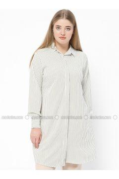 Khaki - Stripe - Point Collar - Plus Size Tunic - SUEM(110315206)