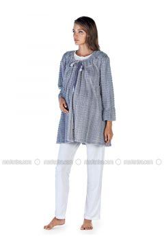 Gray - Crew neck - Cotton - Viscose - Pyjama - Artış Collection(110332896)