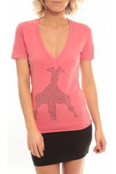 T-shirt So Charlotte V neck short sleeves Giraffe T00-91-80 Rose(98750998)