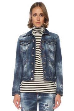 Dsquared2 Kadın Icon Desenli Yıpratma Detaylı Jean Ceket Mavi 42 IT(121299425)