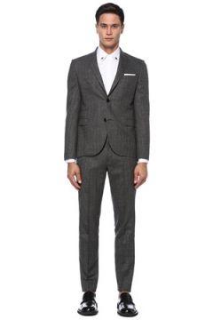 Neil Barrett Erkek Gri Çizgi Desenli Yün Takım Elbise 46 IT(121108210)