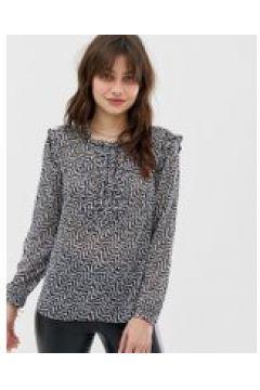 Maison Scotch - Transparente Bluse mit geschnürter Vorderseite - Grau(86674086)