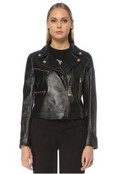 Versace Kadın Siyah Kruvaze Yaka Deri Ceket 40 IT(123608792)