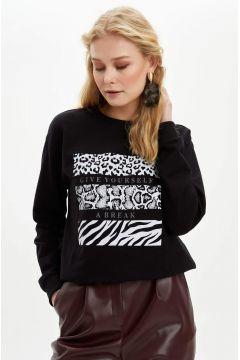 DeFacto Kadın Yarım Düşük Omuz Baskılı Sweatshirt(119061835)