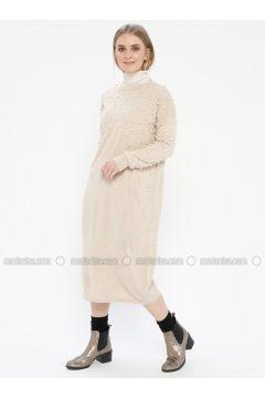 Cream - Crew neck - Acrylic - Dresses - Kaktüs(110327749)