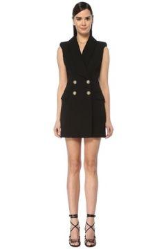 Balmain Kadın Siyah Kolsuz Mini Kruvaze Yün Ceket Elbise 40 FR(109148972)