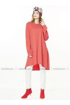 Red - Polka Dot - Crew neck - Cotton - Tunic - Gippe Collection(110332432)