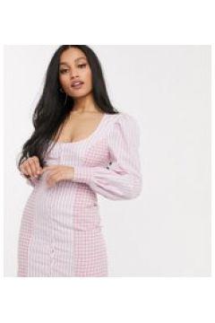Fashion Union Petite - Vestito corto con maniche a sbuffo e laccetti sul retro-Rosa(120330708)