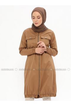 Camel - Unlined - Polo neck - Cotton - Trench Coat - Beha Tesettür(110319638)