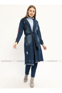 Blue - Unlined - Shawl Collar - Denim - Jacket - Kaktüs(110321809)