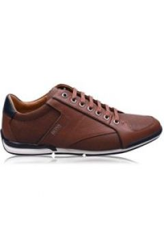 BOSS Textured Leather Trainers - Brown 212(100546820)