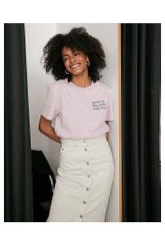 Dr Denim - T-shirt con scritta-Rosa(120379746)