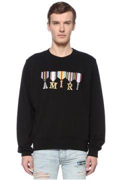 Amiri Erkek Army Ribbons Siyah İşlemeli Logolu Sweatshirt XL EU(108516019)
