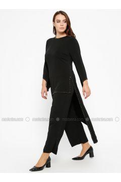 Black - Crew neck - Unlined - Plus Size Suit - Efraze(110329601)