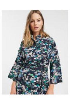 People Tree x V&A - Camicia stile kimono in cotone organico a fiori in coordinato-Blu(120363234)