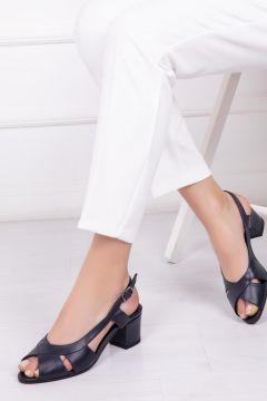 Deripabuc Hakiki Deri LACİVERT Kadın Topuklu Deri Ayakkabı(124966400)