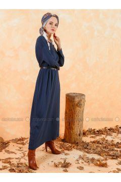 Navy Blue - Crew neck - Unlined - Cotton - Dresses - Muni Muni(110333270)
