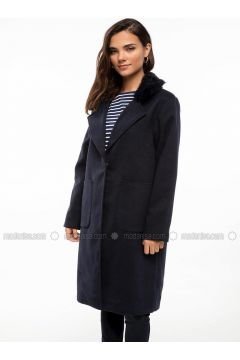 Navy Blue - Coat - DeFacto(110325572)