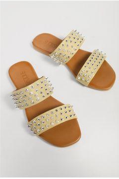 Shoes & More Kadın Bej Hakiki Deri Terlik(124639224)
