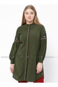 Khaki - Crew neck - Plus Size Tunic - SUEM(110315213)