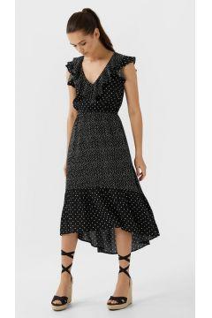 Langes Patchwork-Kleid mit Tupfen Schwarz(116790274)
