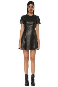 Academia Kadın Siyah Kısa Kol Mini Çan Deri Elbise 42(121108144)