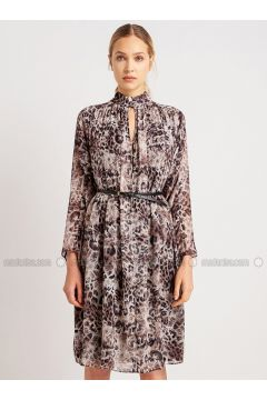 Brown - Leopard - Crew neck - Dresses - NG Style(110341239)