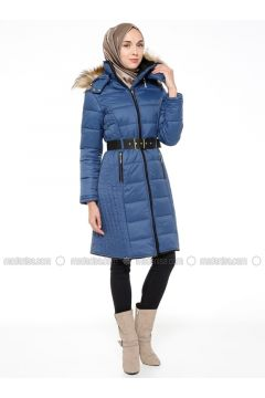 Blue - Fully Lined - Polo neck - Puffer Jackets - Ginezza(110332335)