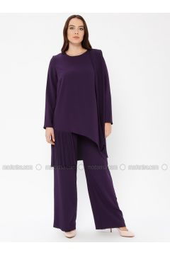 Purple - Unlined - Crew neck - Muslim Plus Size Evening Dress - Sevdem Abiye(110323338)