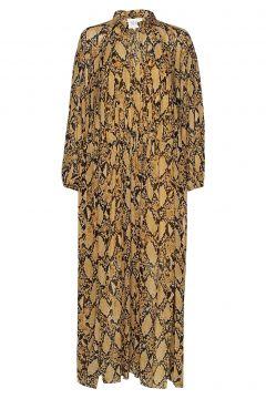 Snake Ls Maxi Dress Kleid Knielang Gelb SECOND FEMALE(114163791)
