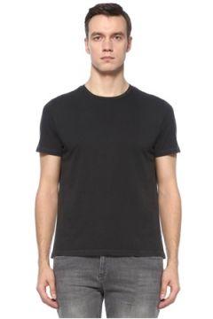 Academia Erkek Antrasit Yıpratma Detaylı Basic T-shirt Gri XS EU(123205137)