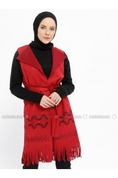 Red - Unlined - Shawl Collar - Vest - XTREND(110329258)