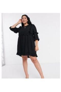 In The Style Plus x Lorna Luxe - Vestito skater nero con volant(121435700)