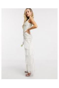 A Star Is Born - Vestito da sposa a balze decorato con nappe-Bianco(120333683)