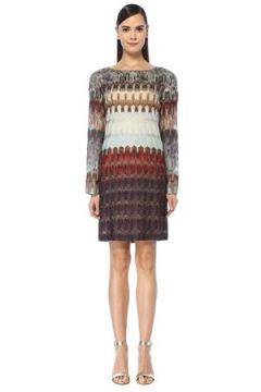 Missoni Kadın Kayık Yaka Simli Desenli Çan Kol Mini Elbise 46 IT(108933850)