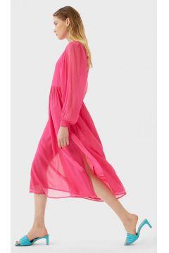 Langes Kleid mit Schleife Fuchsia(113908243)