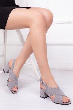 Deripabuc Hakiki Deri GRİ SÜET Kadın Topuklu Deri Ayakkabı(124965888)