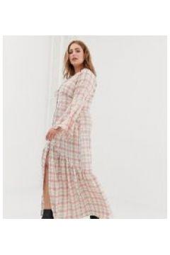 Glamorous Curve - Vestito da giorno lungo a quadri con bottoni-Bianco(120329950)
