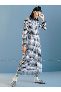 Navy Blue - Plaid - Polo neck - Unlined - Dresses - Kuaybe Gider(110340757)