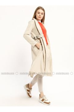 Beige - Unlined - Shawl Collar - Trench Coat - Kaktüs(110319027)
