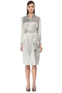 Kiton Kadın Siyah Beyaz Geometrik Çizgili Midi İpek Elbise 40 IT(108873789)
