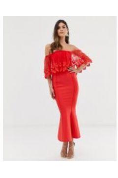 Forever U - Vestito attillato midi rosso con scollo alla Bardot e pizzo all\'uncinetto(120331105)