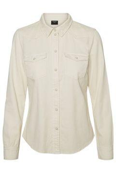 VERO MODA Denim Overhemd Dames Beige(107864620)