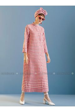 Red - Plaid - Polo neck - Unlined - Dresses - Kuaybe Gider(110340760)